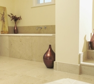 Banc Neuf Limestone Floor and Bath Surround